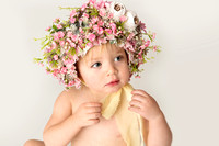 A girl in a flower bonnet