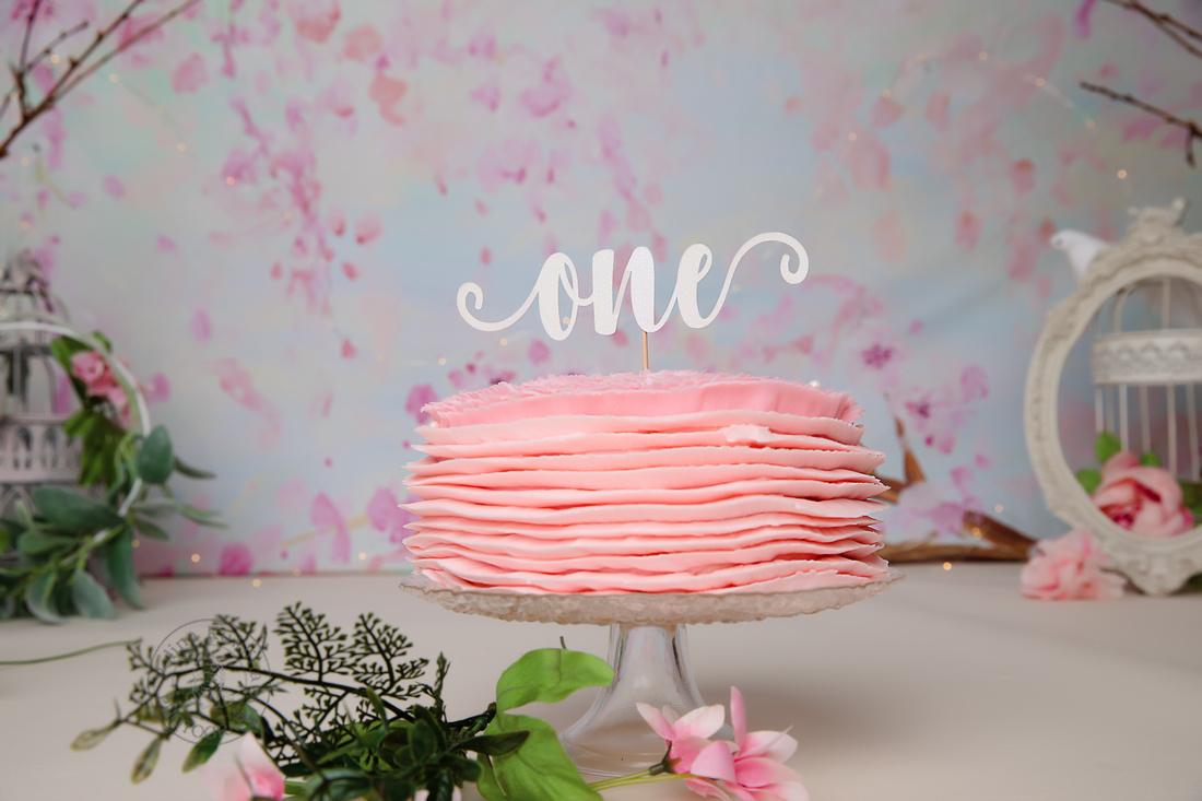 Cake smash cherry blossom studio photography